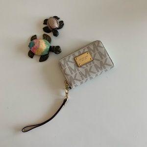 Michael Kors Cream Brown Monogram Wristlet/Wallet